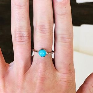 Jewelry - Natural Turquoise & 925 Silver Bezel Ring Size 7